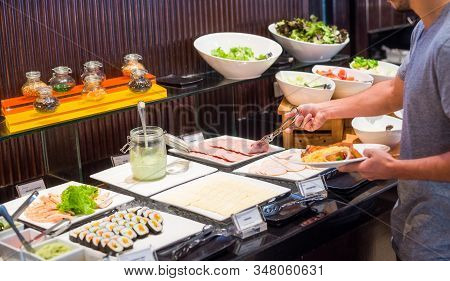 Breakfast Buffet Concept. Breakfast Time In Luxury Hotel. Food Buffet Catering Dining Eating Party C