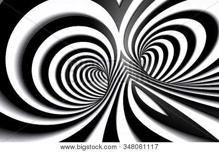 Abstract Tunnel Or Infinite Hole In Concept Of Vertigo.abstract Spiral Background In Black And White