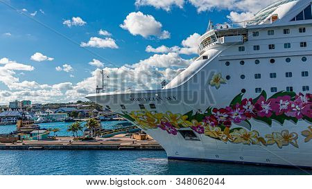 Nassau, Bahamas - February 18, 2018: Norwegian Cruise Lines, Which Also Owns Oceania And Regent Seve