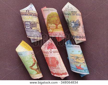 Honduran Banknotes And Costa Rican Bills Of Different Denominations