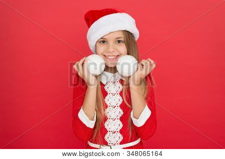 Define The Spirit Of Xmas. Happy Child Hold Xmas Tree Balls. Little Girl Decorate Christmas Tree. Me