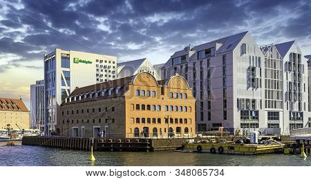 Gdansk, Pomerania, Poland - August 26: View Of Motlawa River And Architecture Of Gdansk On August 26