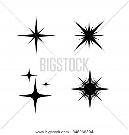 Set Of Sparkle Star Icon On White Background, Sparkles Star Vector Isolated. Sparkles Icon Flat, Spa