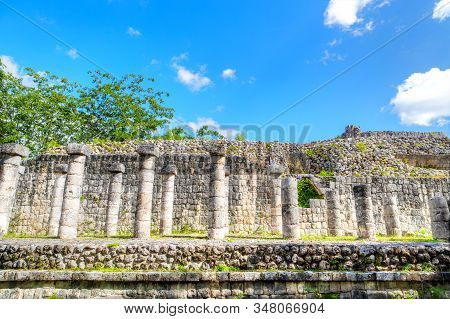 Ancient Ruins Of The Temple Of Sculptured Columns At Chichen Itza In The Yucatan Peninsula Of Mexico