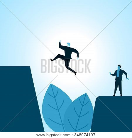 Businessman Employee Work Bravely Jump Over Abyss To Reach Goal Illustration