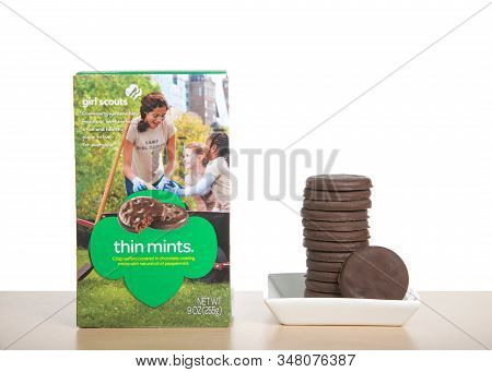 Alameda, Ca - Jan 29, 2020: Box Of Girl Scout Brand Thin Mints Cookie. The Number One Cookie Sold By