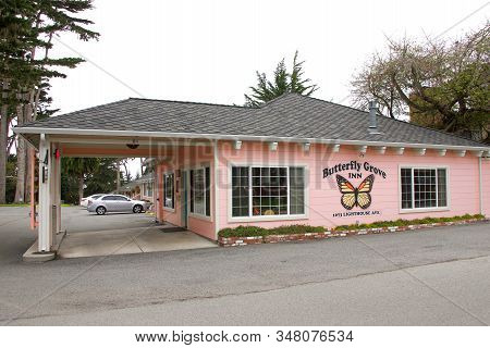 Pacific Grove, Ca - Jan 1, 2020: Adjacent To The Butterfly Grove Sanctuary, The Butterfly Grove Inn