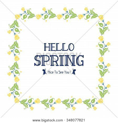 Simple Shape Pattern Of Leaf And Floral Frame, For Hello Spring Greeting Card Design. Vector