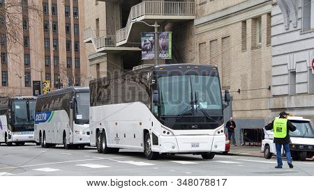 San Francisco, Ca - Jan 25, 2020: Charter Buses Busing Hundreds Of Participants Into Civic Center Pl