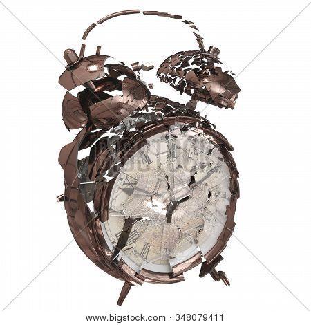 3d Rendering Broken Alarm Clock Made Of Metal