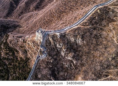 Beautiful Winter Aerial Drone View Of Great Wall Of China Mutianyu Section Near Bejing