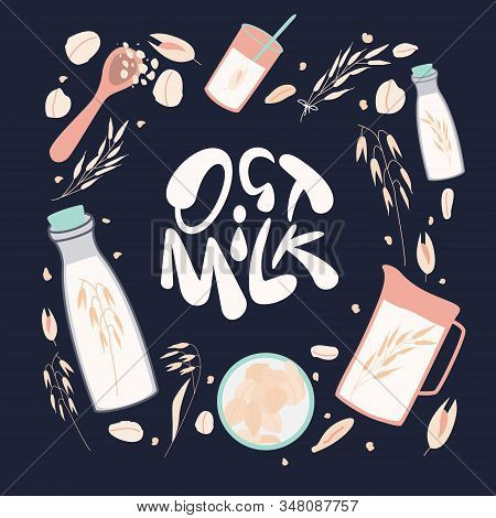 Oat Milk Doodle Illustration. Hand Drawn Lettering Of Oat Elements For Healthy, Organic, Original, V