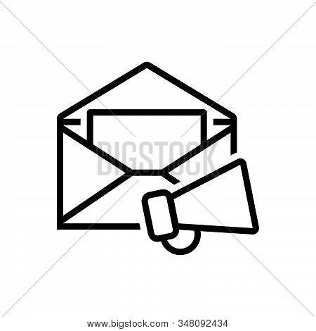 Black Line Icon For E-mail-marketing  Email Promotion Loudspeaker Megaphone Publicity Communication