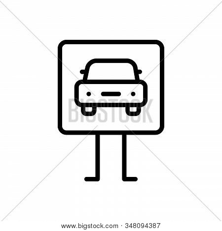 Black Line Icon For Parking-sign Parking Sign Transport Traffic Roadsign Car