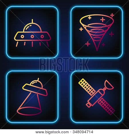 Set Line Satellite, Ufo Flying Spaceship, Ufo Flying Spaceship And Black Hole. Gradient Color Icons.