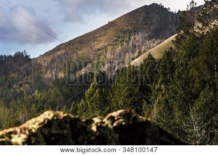 View Of A Mountain Ridge With Cloudy Sky From A Hiking Trail In Sugarloaf Ridge State Park, Sonoma C