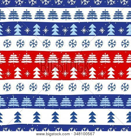 Seamless Christmas Patterns In National Color Flag Great Britain Style. Vector Design In Nordic Styl