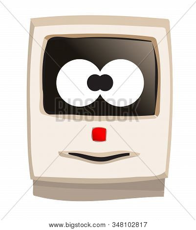 Early Years Desk Top Beige Computer With Silly Goofy Face On A White Background