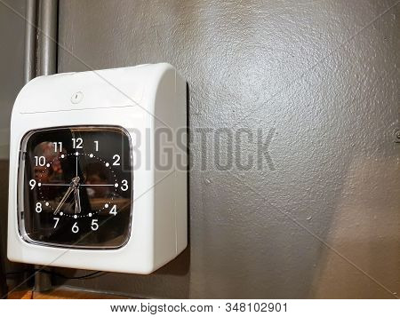 Time Stamp Clock For Employee Check In Attendance For Their Working Time Located In The Gate Of Fact