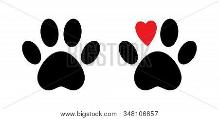Paw Print Vector Isolated Icon. Paw With Red Heart. Dog Paw Print. . Black Animal Paw Icon. Love Con