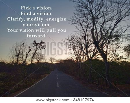 Inspirational Motivational Quote - Pick A Vision, Find A Vision, Clarify, Modify, Energize Your Visi