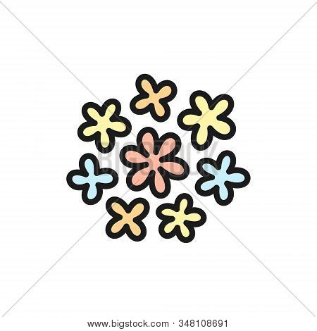 Vector Buckwheat Flowers Flat Color Line Icon.