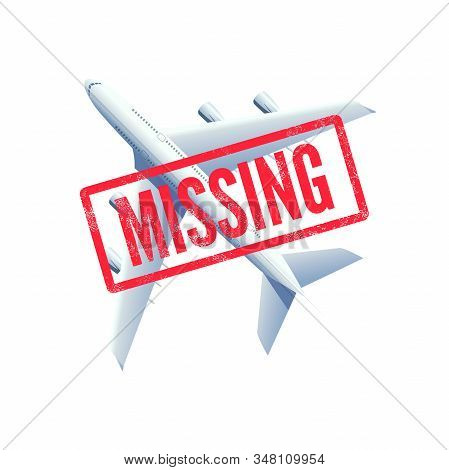 Missing Airplane, Plane With Stamp Missing. Vector