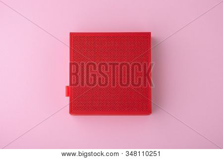 Red Wireless Speaker On Pink Background, Minimalism, Flat Lay