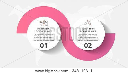 Vector Template Circle Infographics. Business Concept With 2 Options And Parts. Two Steps For Diagra