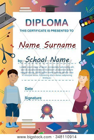 Cartoon Childrens Diploma Template. Vertical A4 Format Is Ready To Print. Children's Certificate, Co