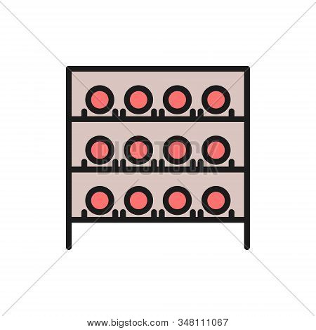 Wine Cellar, Bottles On The Shelves, Wine Cabinet Flat Color Line Icon.