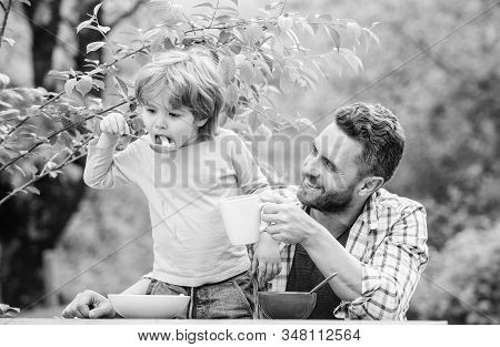 Father Son Eat Food And Have Fun. Menu For Children. Family Enjoy Homemade Meal. Food Habits. Little