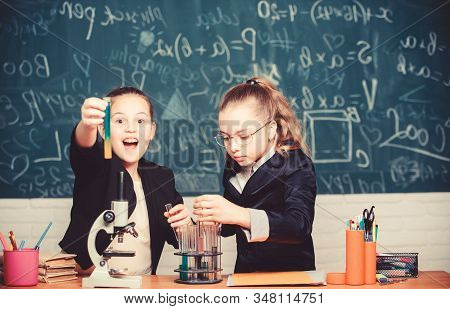 Girls School Uniform Busy With Proving Their Hypothesis. School Project Investigation. School Experi