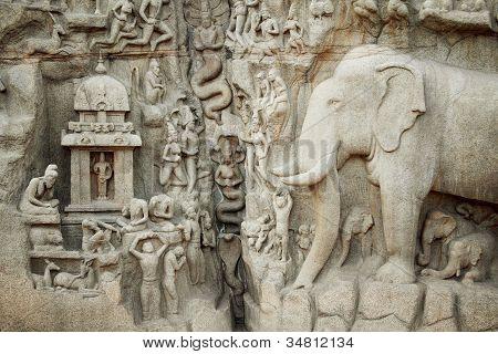 Closeup View Of Arjuna's Penance In Mahabalipuram