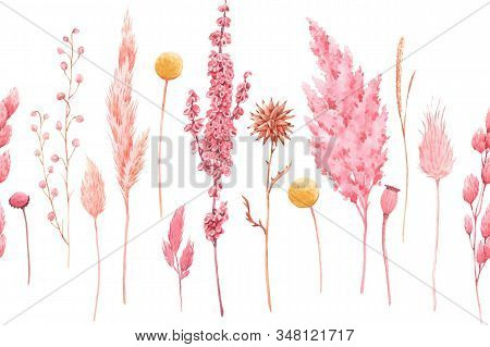 Beautiful Seamless Pattern With Watercolor Herbarium Wild Dried Grass In Pink And Yellow Colors. Sto