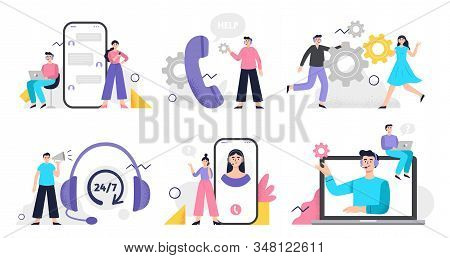 Set Of Customer Service Illustration. Girls And Men Answer Phone Calls, Chatting With Customers And