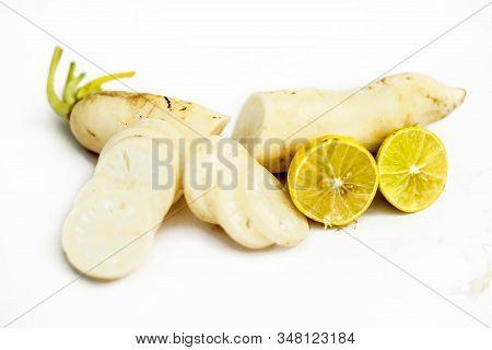Pickle Ingredients Of White Radish Or Daikon Radish Isolated On White Which Are Daikon Radish And So