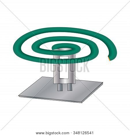Mosquito Coils On White Background. Mosquito Smoking Coil To Repel Pests, Prevent Disease. Mosquito