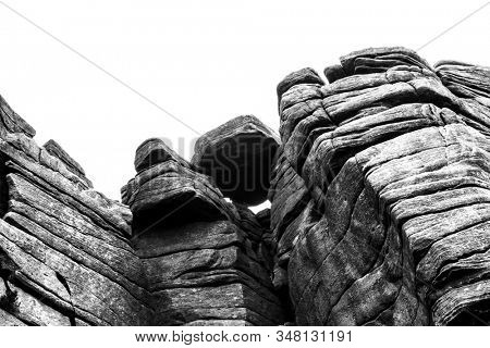 Rock formation in black and white