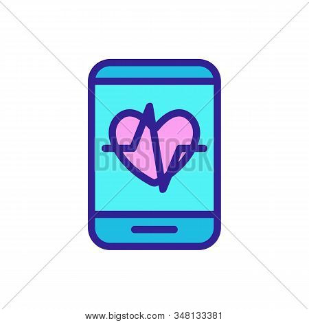 The Health App In The Phone Is A Vector Icon. A Thin Line Sign. Isolated Contour Symbol Illustration