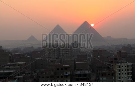 Sunset And The Pyramids
