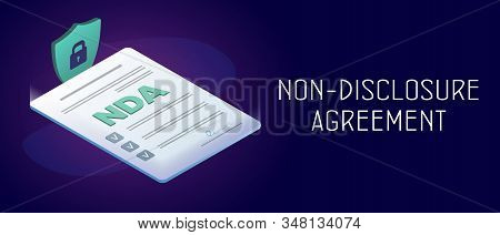 Non-disclosure Agreement (nda) Horizontal Banner Concept. Employer And Employee Contracts. Proprieta