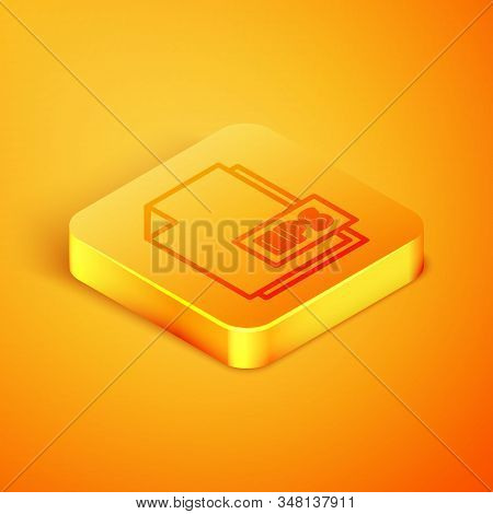 Isometric Line Eps File Document. Download Eps Button Icon Isolated On Orange Background. Eps File S
