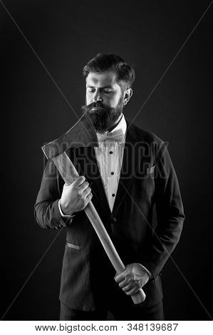 Brutal And Bearded. Brutal Groom Hold Axe. Hipster Keep Sharp Axe Blade At Unshaven Face. Bearded Ma