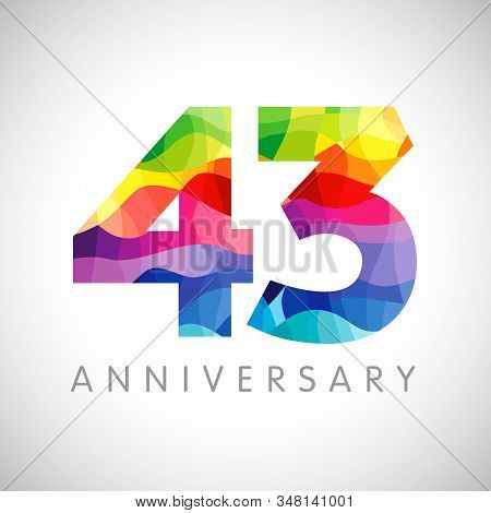 43 Rd Anniversary Numbers. 43 Years Old Logotype. Bright Congrats. Isolated Abstract Graphic Web Des