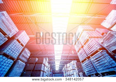 Warehouse Industrial Company. Commercial Warehouse. Crates Stacked