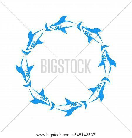 Blue Shark Logo Isolated On White Background. Fish Animal Icon.