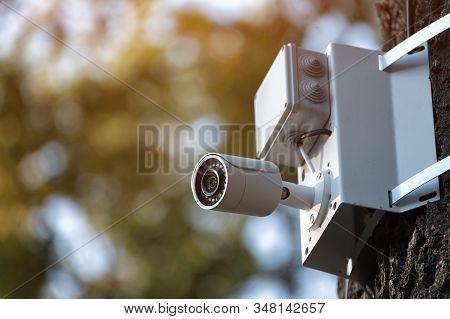 White Cctv Camera. Outdoor Waterproof Ip Security Surveillance Video Camera
