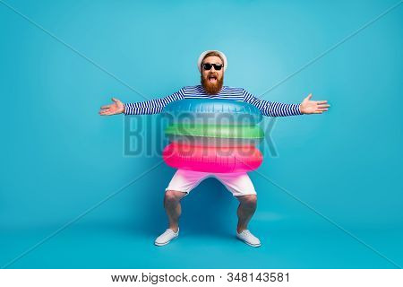 Full Length Photo Of Funny Funky Cheerful Man Enjoy Tourism Journey Hold Hands Want Hug Buddies Wear