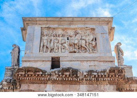 Arch Of Constantine Or Triumphal Arch In Rome, Italy Near Coliseum,